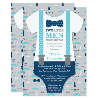 Twin Little Men Baby Shower Invitation, Blue, Gray Card