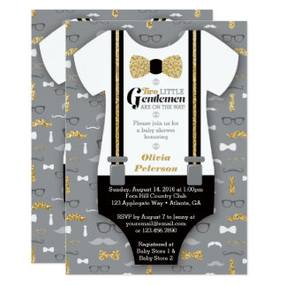 Twin Little Men Baby Shower Invite, Faux Glitter Card