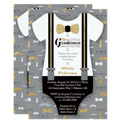Twin Little Men Baby Shower Invitation, Blue Gray Card | Zazzle.com