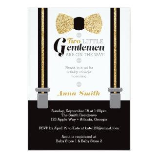 Twin Little Men Baby Shower Invite, Faux Glitter Card