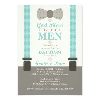 Twin Little Men Baptism Invitation, Ivory, Aqua Card