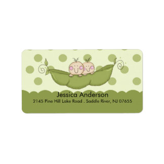 Twin Little Peas Baby Shower address Label