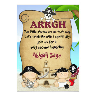 Twin Little Pirates Baby Shower Invitation ~ Boys