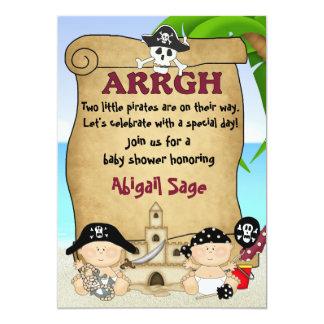 "Twin Little Pirates Baby Shower Invitation ~ Boys 5"" X 7"" Invitation Card"