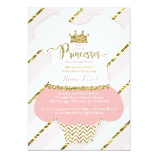 Twin Little Princesses Shower Invite, Faux Glitter Card