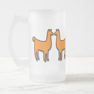 Twin Llamas Frosted Glass Beer Mug