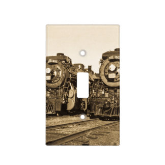 Twin Locomotive Steam Engines Vintage Canadian Switch Plate Cover
