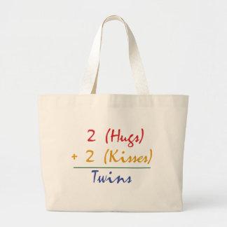 Twin Math Large Tote Bag