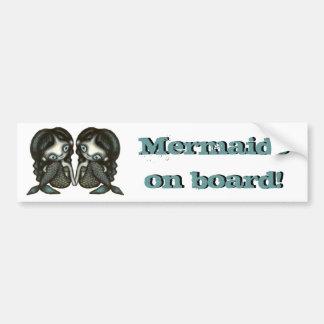 Twin mermaids car bumper sticker