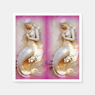 twin mermaids lavender paper napkins standard cocktail napkin