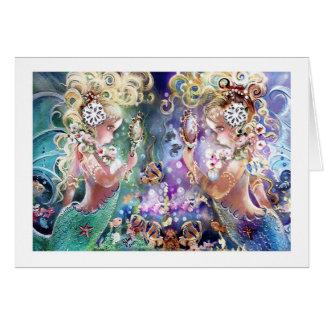 Twin Mermaids Note Card