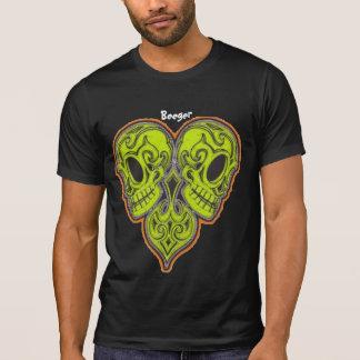 Twin Mexican Sugar Skulls in Heart Shape Design T-Shirt