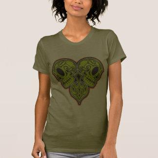 Twin Mexican Sugar Skulls in Heart Shape Design Tee Shirt