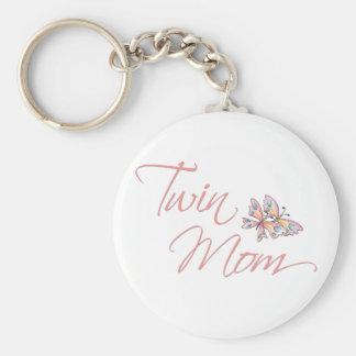 Twin Mom Butterflies Keychain