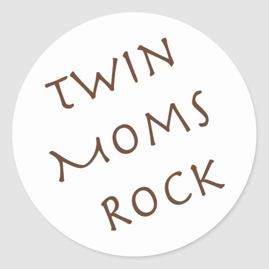 Twin Moms Rock Classic Round Sticker