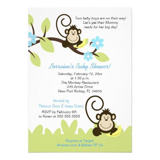 twin monkey baby shower invitation size 5x7 5 x 7 invitation ca