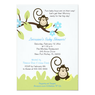 Twin Monkey Baby Shower Invitation (Size 5x7)