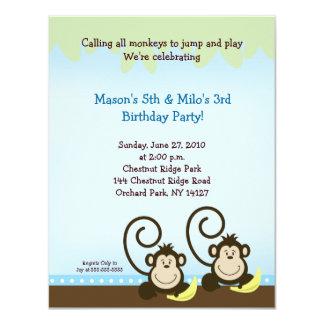 Twin Monkey Birthday Invitation (Smaller Invite)