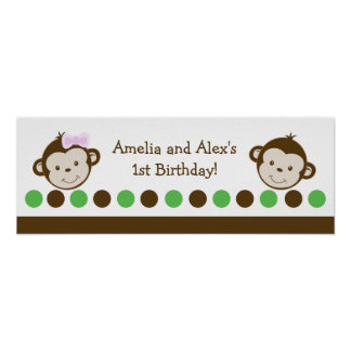 Twin Monkey Boy and Girl Birthday Banner Poster
