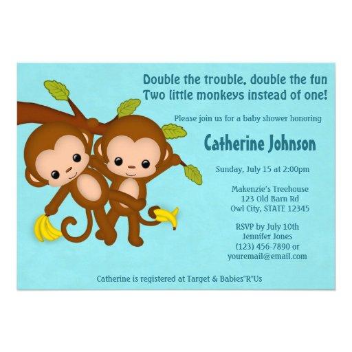 TWIN Monkeys Baby Shower Invitations BLUE MM2
