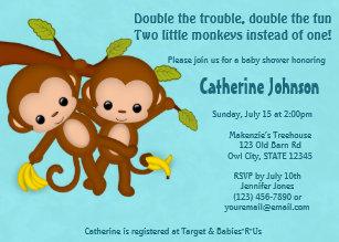 Monkey baby shower invitations zazzle twin monkeys baby shower invitations blue mm2 filmwisefo