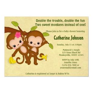 Twin monkey baby shower invitations zazzle twin monkeys baby shower invitations boy girl filmwisefo