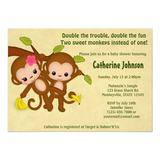 twin monkeys baby shower invitations boy girl | zazzle, Baby shower invitations