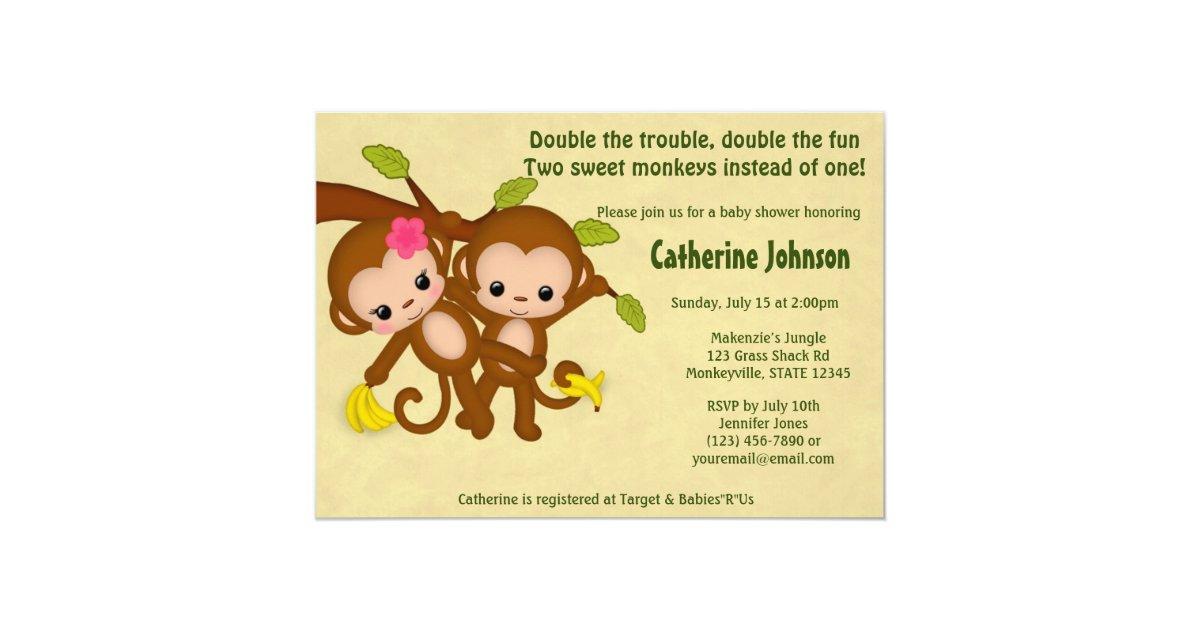 TWIN Monkeys Baby Shower Invitations BOY GIRL   Zazzle.com