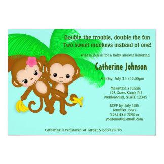"TWIN Monkeys Baby Shower Invitations BOY GIRL 5"" X 7"" Invitation Card"