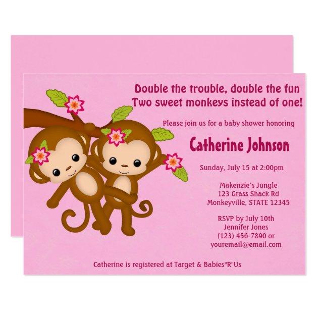 Twin monkeys baby shower invitations pink mm2 filmwisefo