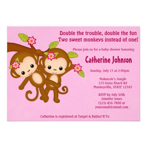 TWIN Monkeys Baby Shower Invitations PINK MM2