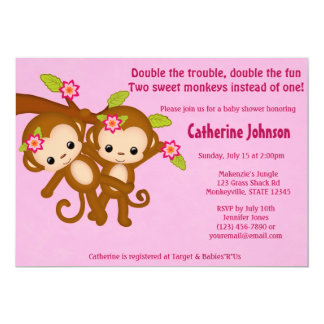 "TWIN Monkeys Baby Shower Invitations PINK MM2 5"" X 7"" Invitation Card"