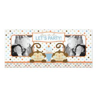 Twin Monkeys & Ice Cream Sundae Birthday Card