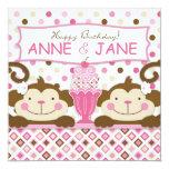 "Twin Monkeys & Ice Cream Sundae Birthday 5.25"" Square Invitation Card"