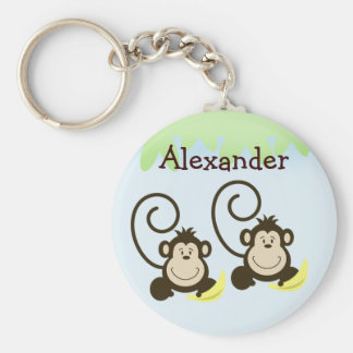 TWIN MONKEYS SILLY MONKEY Favor or Name Tag Keychain