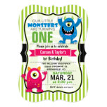 Twin Monsters Birthday Party Card