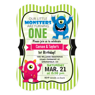 Twin Monsters Birthday Party 5x7 Paper Invitation Card
