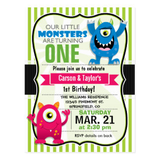 Twin Monsters Birthday Party Postcard Invitation