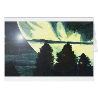 Twin Moons Alien Landscape Art Greeting Card SciFi