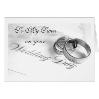 TWIN** ON YOUR WEDDING DAY-LOVE/LAUGHTER CARD