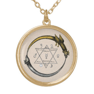 Twin Ouroboros Dragons Gold Plated Necklace