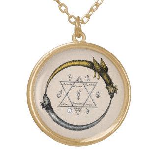 Twin Ouroboros Dragons Round Pendant Necklace