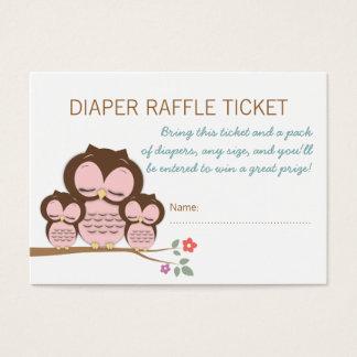 Twin Owl Baby Shower Diaper Raffle Ticket Insert