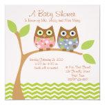 Twin Owl Baby Shower Invitation