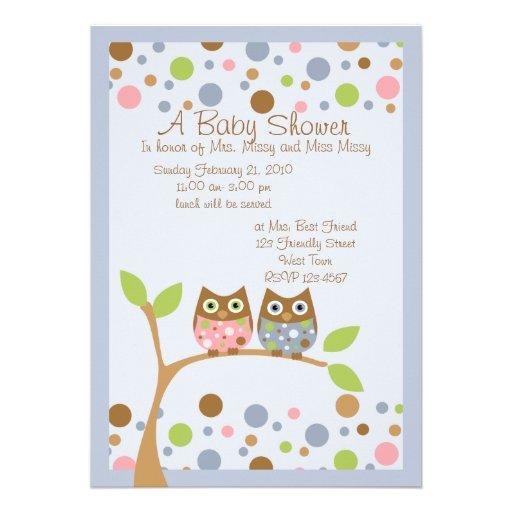 twin owl baby shower invitation 13 cm x 18 cm invitation card zazzle