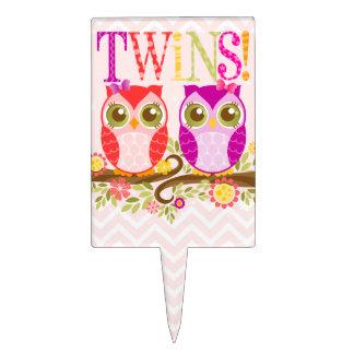 Twin Owl Girls - Baby Shower Cake Topper
