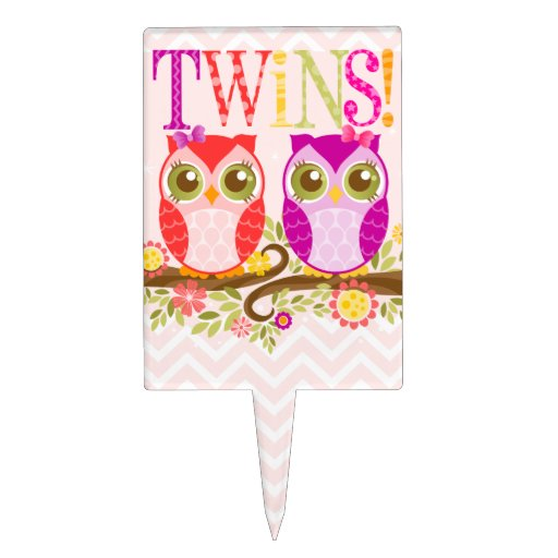 Twin Baby Shower Cake Toppers: Twin Owl Girls - Baby Shower Cake Topper