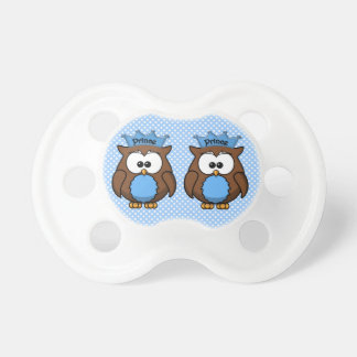 twin owl princes baby pacifiers