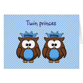 twin owl princes greeting cards