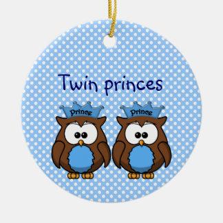twin owl princes ornament